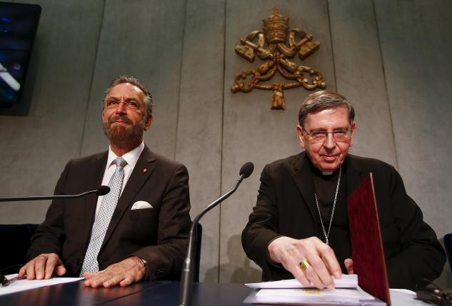 Cardinal Kurt Koch and Rabbi David Rosen attend a news conference at the Vatican
